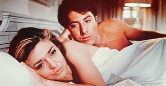 "Anne Bancroft og Dustin Hoffman i ""The Graduate""."